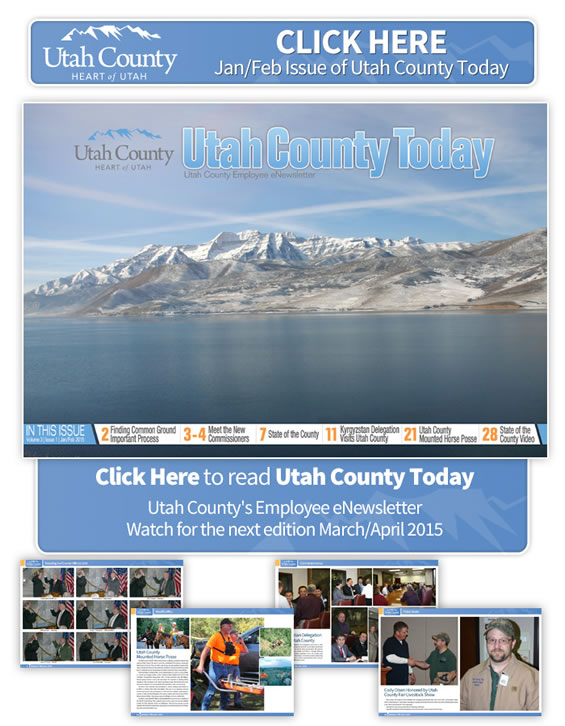 Click on image to open the newsletter. Image is a view of Utah Lake and snowcapped mountains in the distance.  In this issue: Finding common ground, Meet the new Commissioners, Kyrgystan Delegation visits Utah County, Utah County Mounted Posse, State of The County Video
