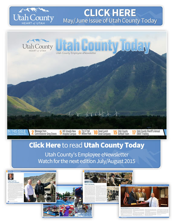 Click on image to open the newsletter. Image is a view of mountains with solar windmills in a field in the foreground.  In this issue: Message from Commissioner Graves, IHC unveils new hospital campus, Try a Trail - Willow Park, Great Lunch, Great Company, Utah County Softball Team, Utah County Sheriff's Annual SWAT Training