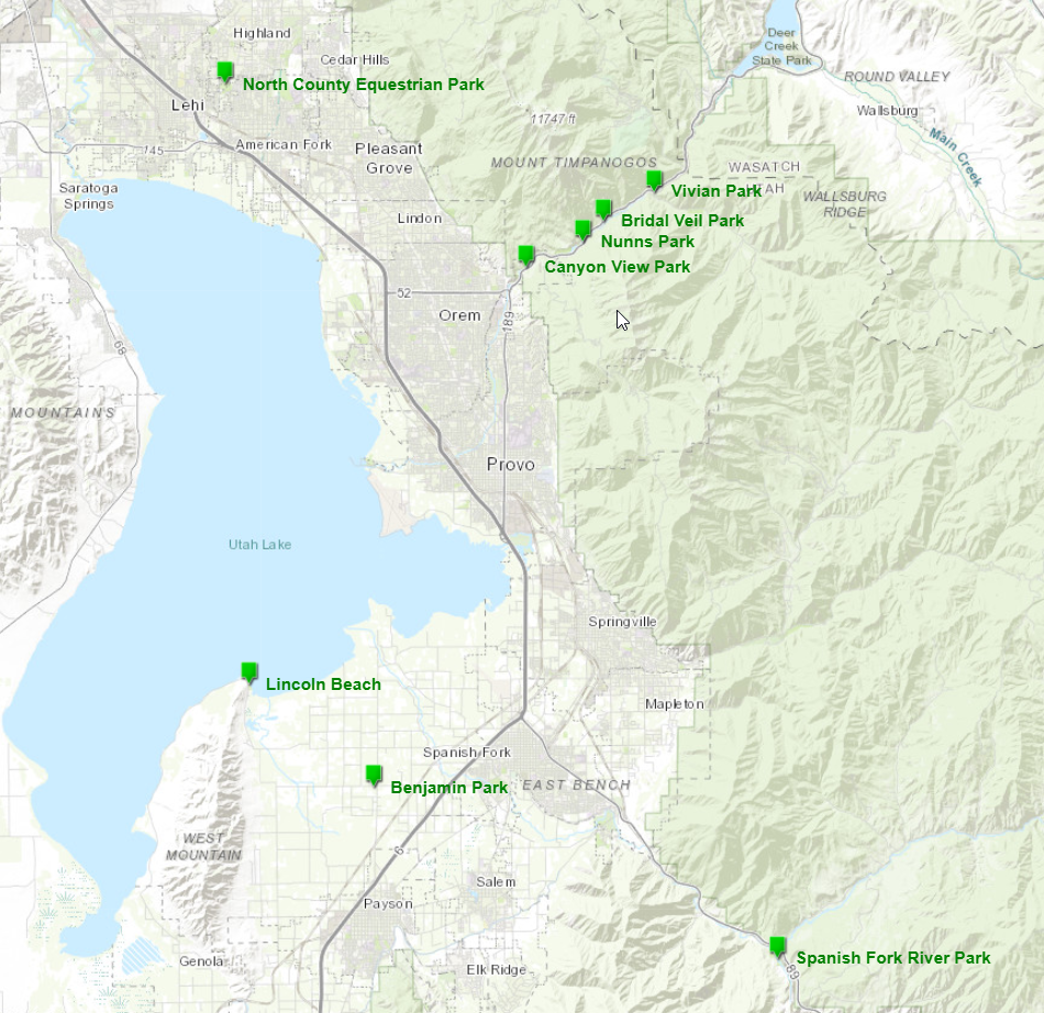 Utah County Parks and Trails Map